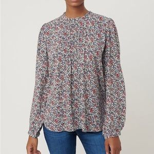 New Loft Gray Floral Pintucked Blouse size S